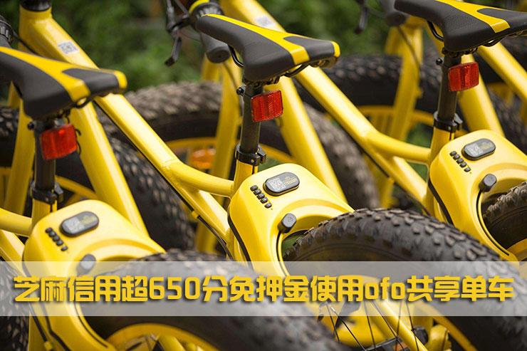 芝麻信用超 650 分免押金使用 ofo 共享单车