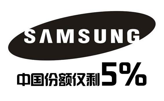 三星智能手机中国市场份额仅剩 5%